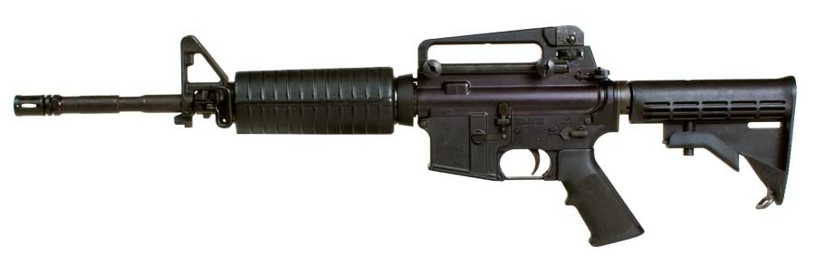 The Colt M4 Commando semi-automatic carbine in its 14,5-inch barrel variant