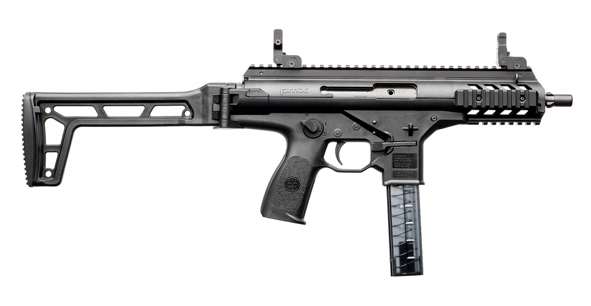 The Beretta PMX sub-machine gun seen from the right side, with its stock unfolded
