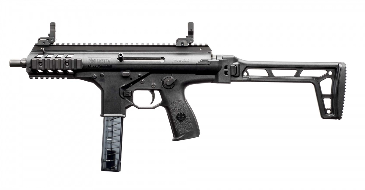 Beretta's new SMG, the PMX, seen from the left side, stock unfolded