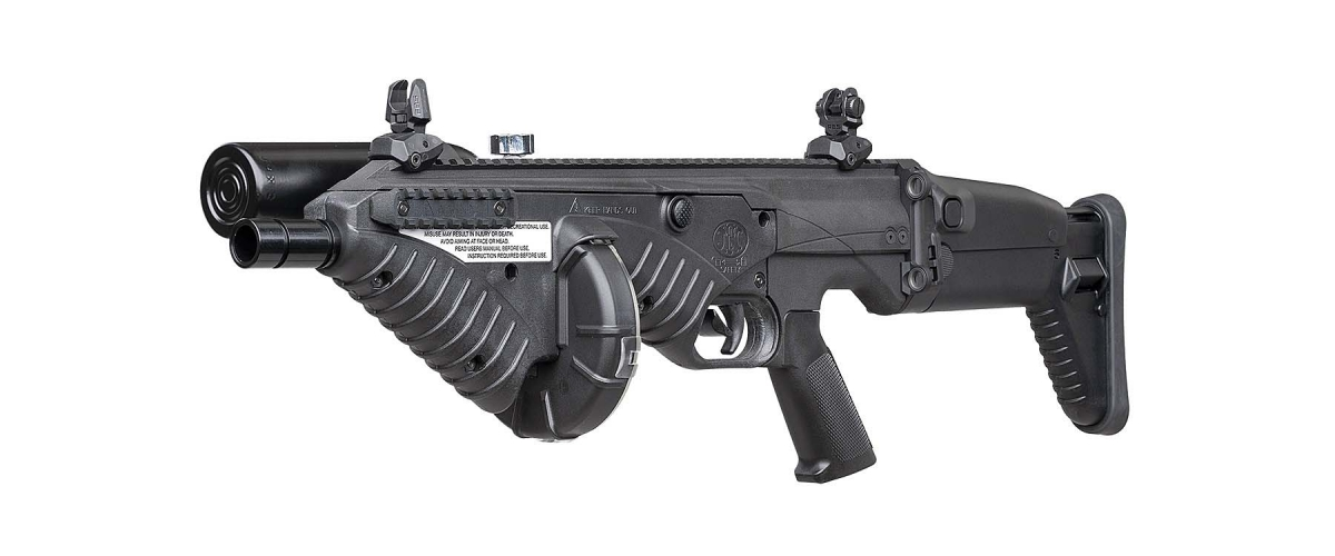 The new FN 303 Tactical is an upgraded version of the .68-caliber FN 303 less-lethal launcher, more compact, featuring a modular pistol grip and buttstock system