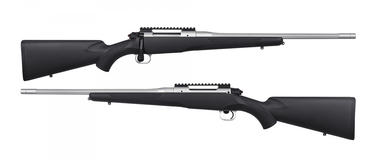 Side views of the rifle, without optic