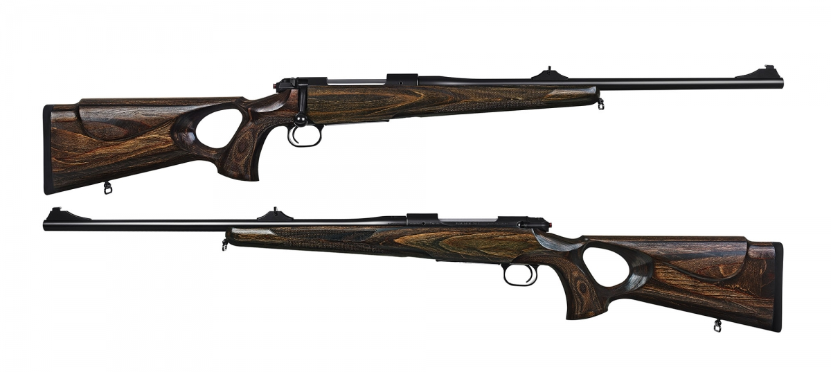 Side views of the new Mauser rifle, with the thumbhole pistol grip design of the stock