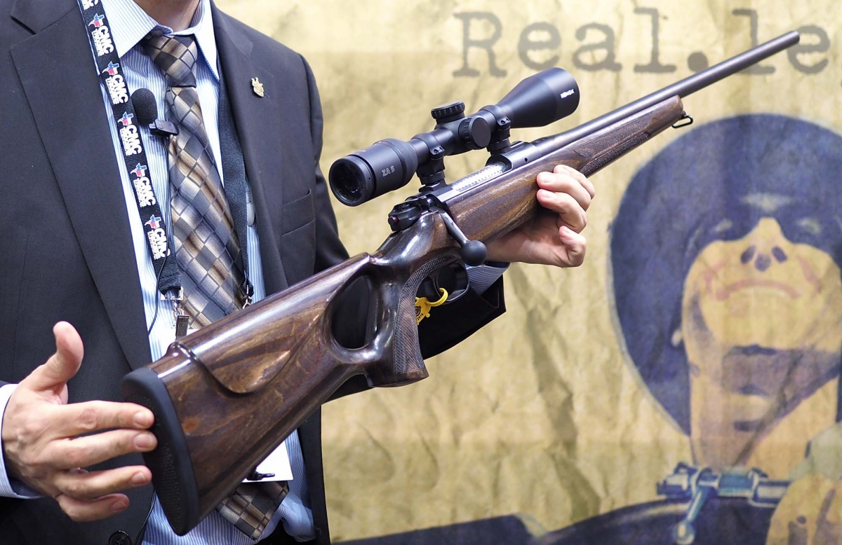 The stock is made out of robust laminated wood, with a thumbhole style pistol grip