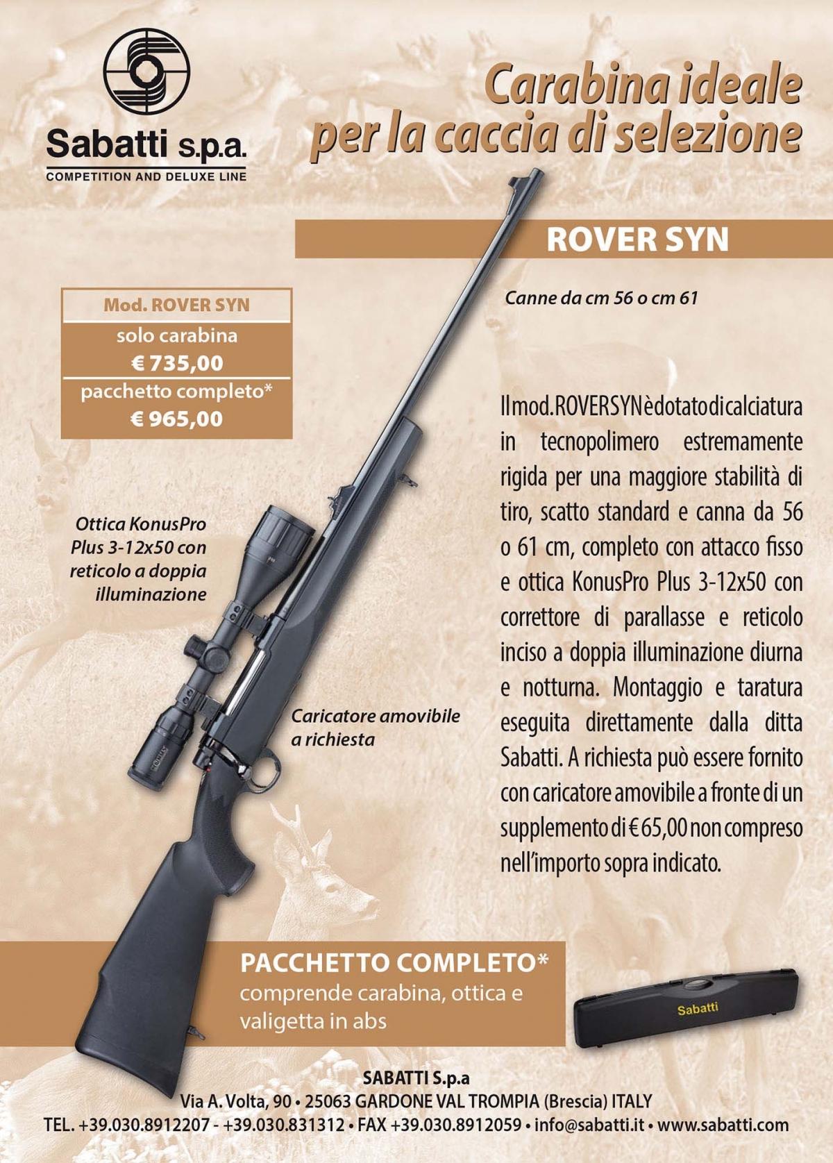 Caccia a palla: pacchetto Sabatti Rover Syn con ottica Konus Pro Plus 3-12x50
