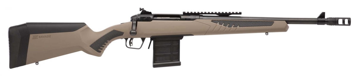 Among its features are a carbon steel barrel, a detachable flash hider, and a tang-mounted safety