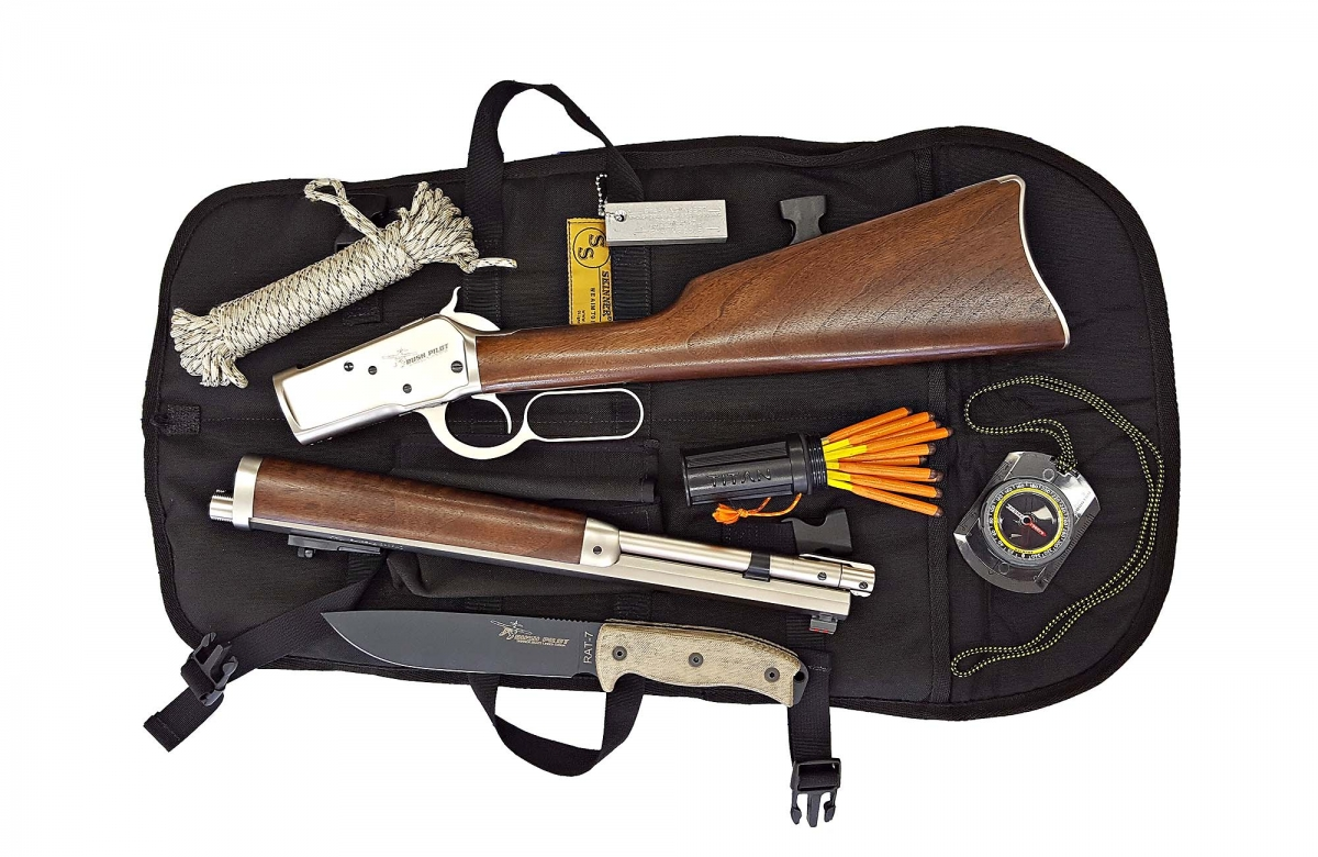 View of the kit with the Chiappa Firearms Alaskan lever action rifle 'taken down' (not all kit accessories are visible)