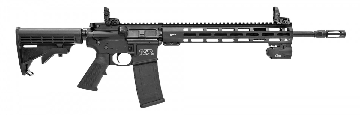 Side view of the Smith & Wesson M&P15T Rifle with Crimson Trace LiNQ system