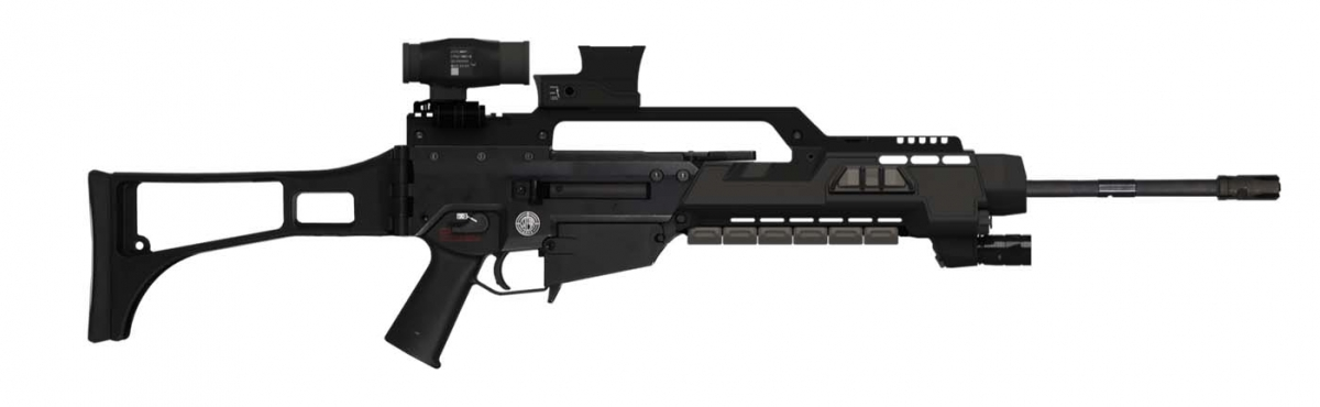The Steyr G62 assault rifle, equipped with the Wilcox Industries Fusion powered rail system