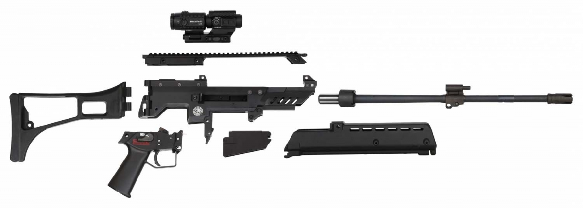 Steyr Arms G62 assault rifle, stripped into its main components