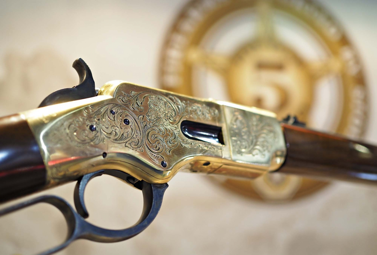 Detail of the hand engraved receiver