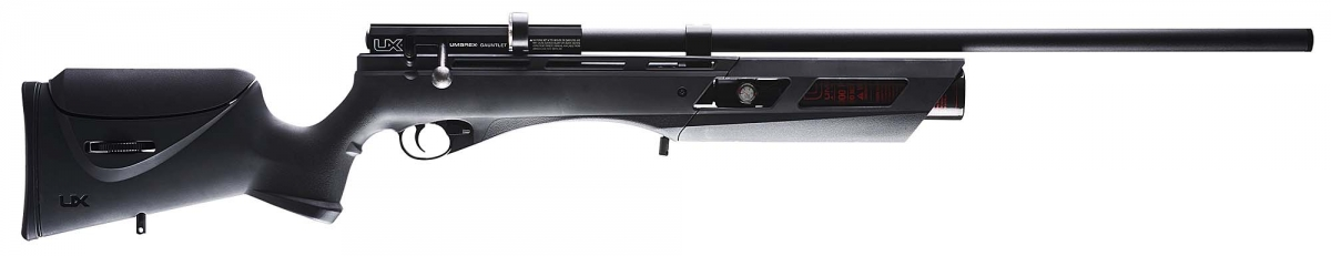 The new .25 caliber version of the Umarex Gauntlet air rifle, seen from the right side