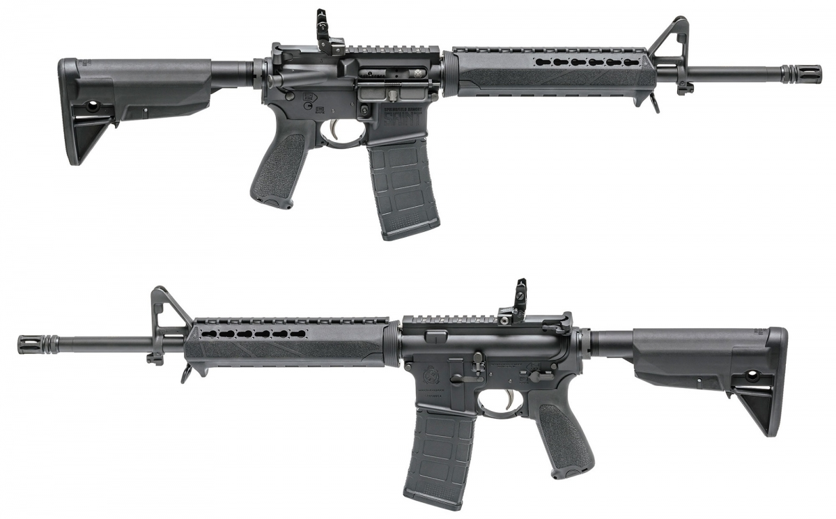 The Saint rifle from Springfield Armory features BCM furniture and a folding rear sight