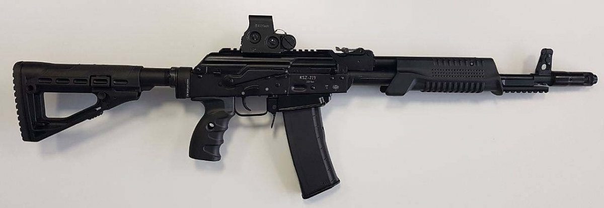 The Saiga KSZ-223 pump-action rifle manufactured by the Kalashnikov Concern