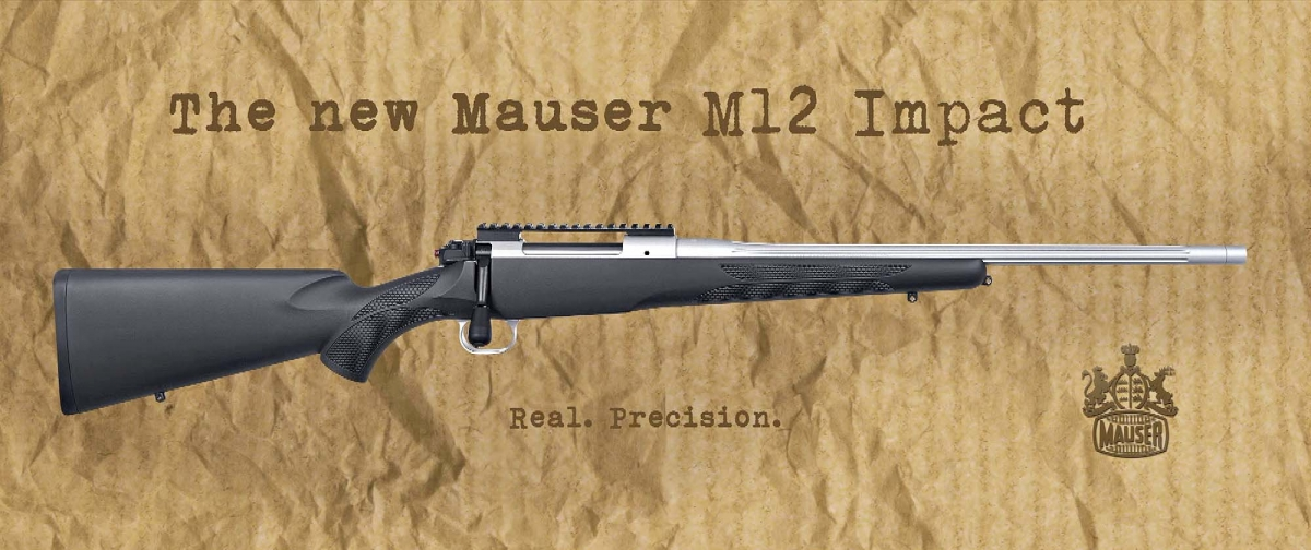 Side view of the new Mauser M12 Impact rifle in an official ad from Mauser