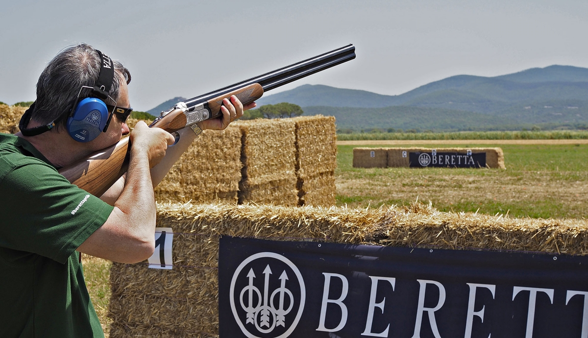 The new Beretta 690 Field I shotgun during the very first shots at the 2016 Game Fair Italia event