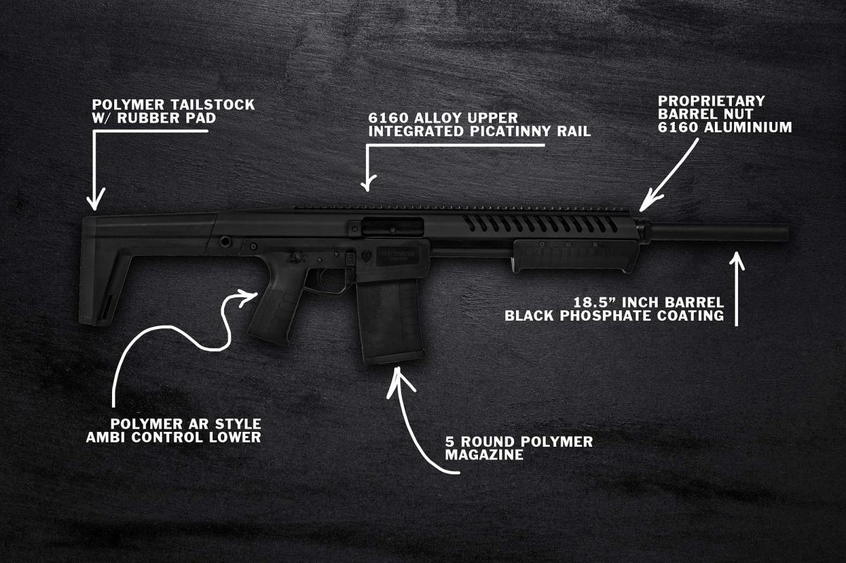 Some of the features of the Blackwater Firearms Sentry 12 pump-action shotgun
