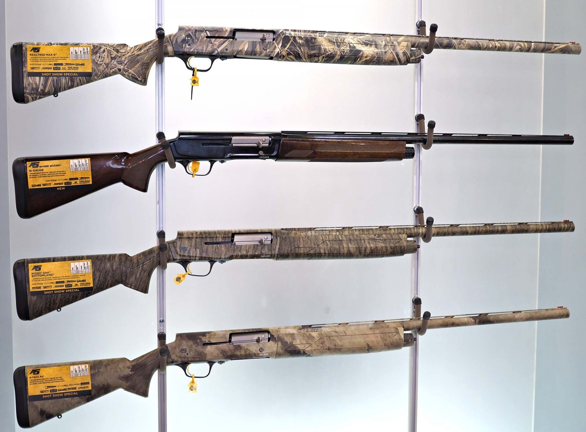 The new line of Browning A5 hunting shotguns for the US market. From top: the Realtree Max-5, the One Sweet Sixteen, the Mossy Oak Bottomland and the A-Tacs AU