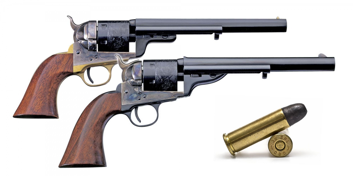 Today the .38 Special is also chambered in historic replicas of original breechloading revolvers of the Old West, like these two Uberti models: a Colt Navy 1851 Richards-Mason conversion and a Colt 1872 Open Top