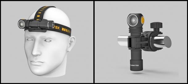 Nel kit accessori: bande elastiche per il montaggio frontale sulla testa e aggancio per bicicletta