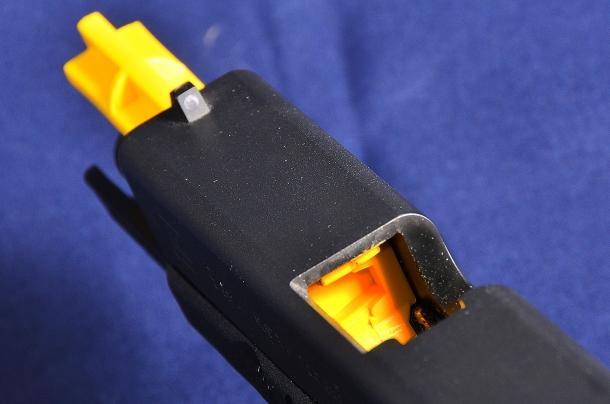il vistoso colore giallo fa notare immediatamente che la canna originale è stata rimossa