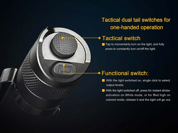 The twin tail buttons of the Fenix TK25 R&B flashlight