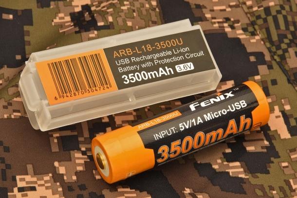 La torcia Fenix TK25 R&B è alimentata da una singola batteria Fenix ARB-L18-3500U (non inclusa)