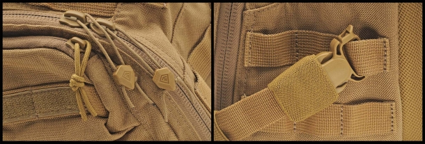 Detail of the zippers and the removable/adjustable buckles