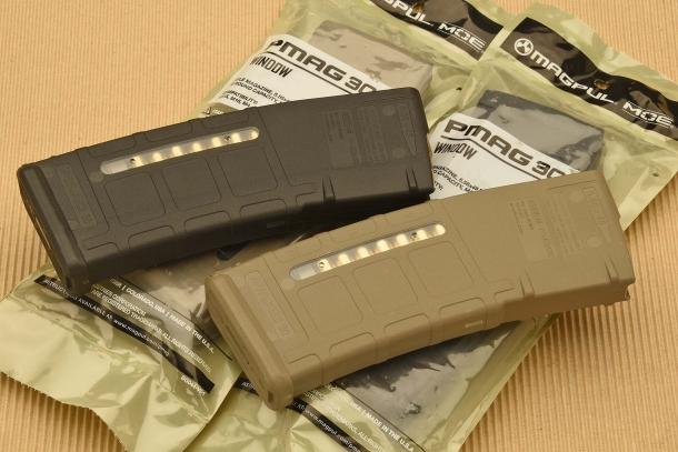 The PMAG magazines are available in black or desert tan