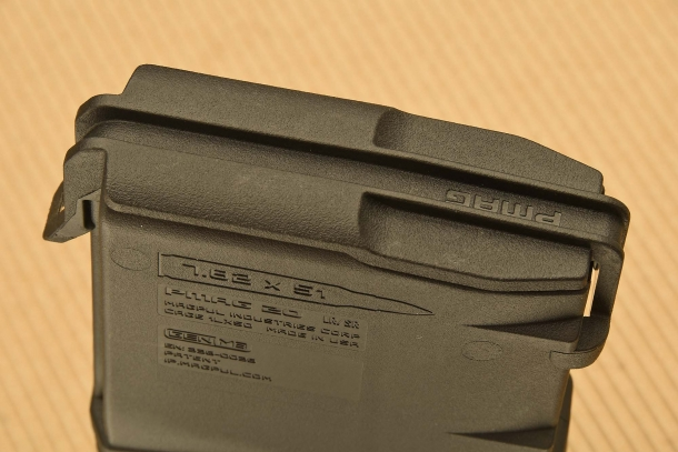 The protection cover of a 7.62x51mm NATO magazine, closed