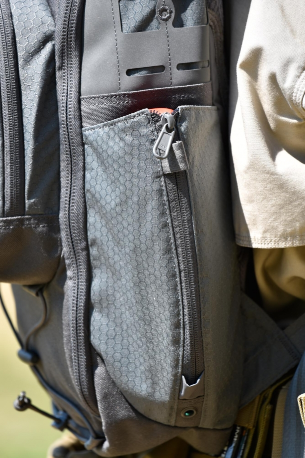 The expandable bottle pocket, closed
