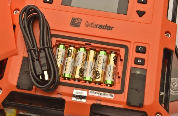 The LabRadar chronograph can work on a USB cable or 6 AAA batteries