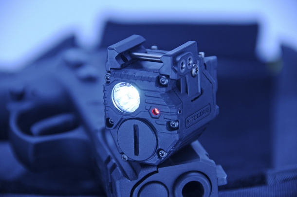 A full front view of the Nitecore NPL10 Tactical Pistol light