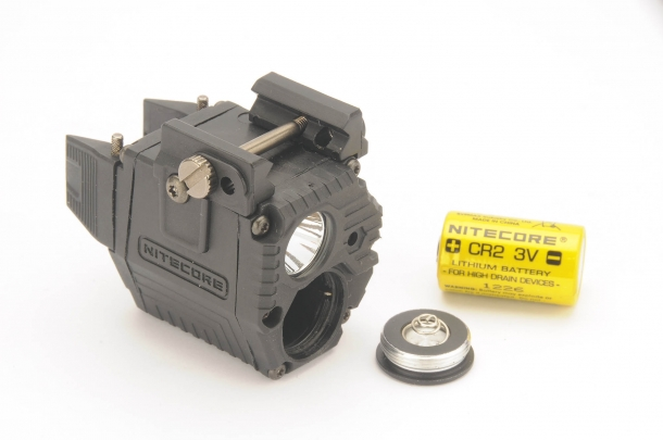 The Nitecore NPL10 Tactical Pistol flashlight is powered through a single CR2 battery