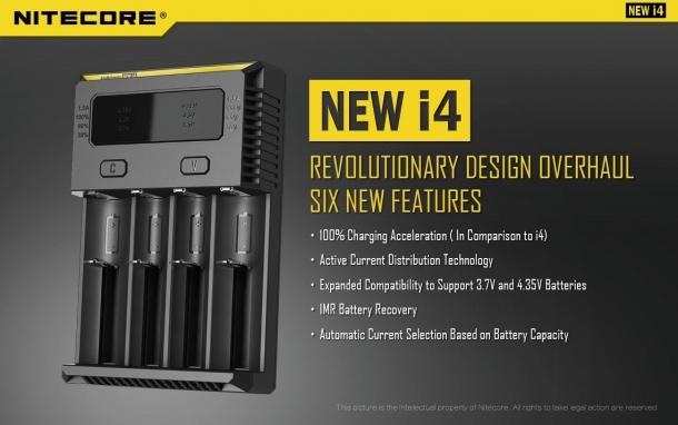 Il Nitecore New i4 è un caricabatterie universale ottimizzato per le batterie IMR, compatibile con batterie da 1,2, 3,7, 4,2 e 4,35 volt