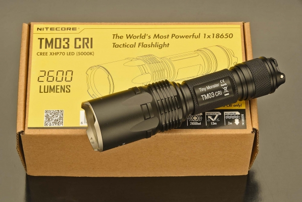 The Nitecore TM03 CRI is the world's most powerful flashlight to run on a single 18650 rechargeable battery