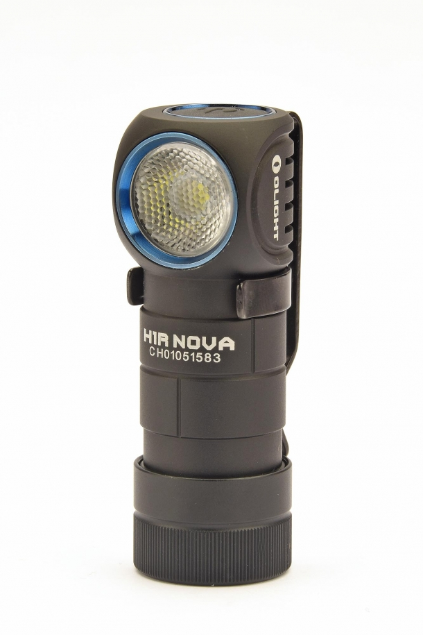 The 90-degrees bezel is a signature feature of the Olight H1R Nova flashlight