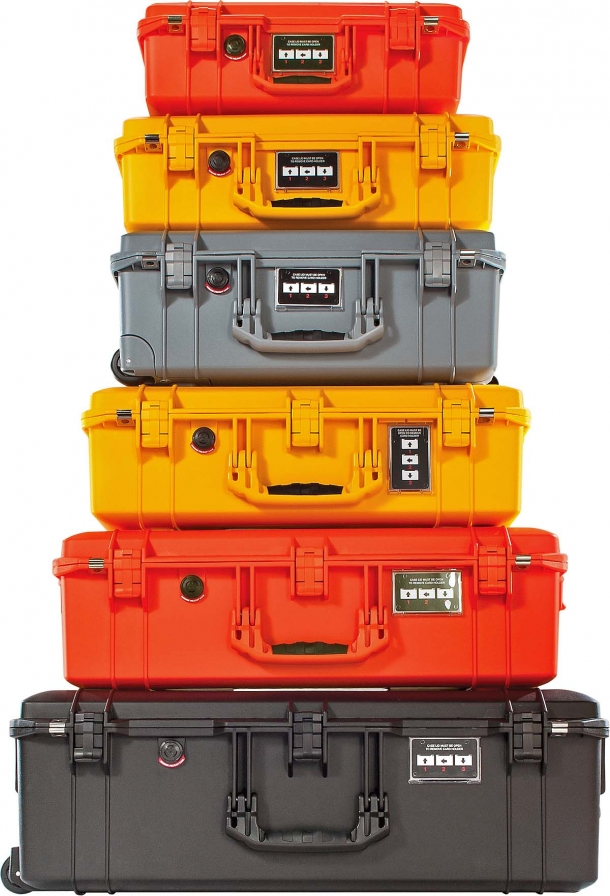 The Peli Air cases are available in different sizes and colors