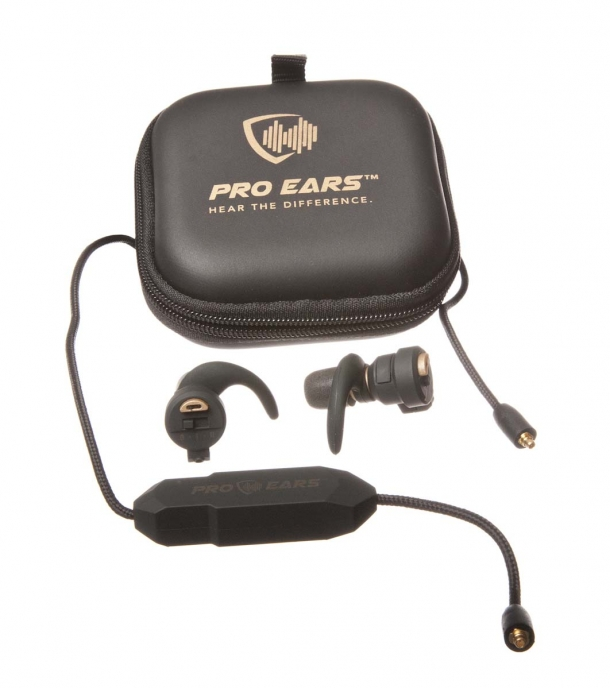 The Pro Ears Stealth Elite electronic ear buds are issued with a braided lanyard featuring a Bluetooth microphone, to be used as ear pods for a mobile phone