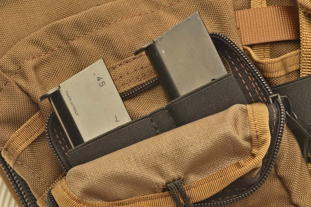 Magazine loops on one of the front pockets