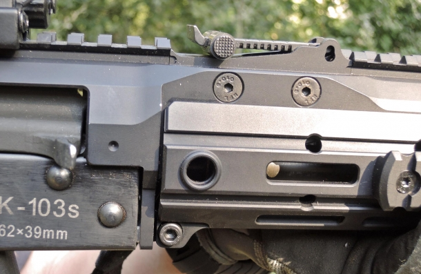 The ACR handguard is held in place by a single screw pin