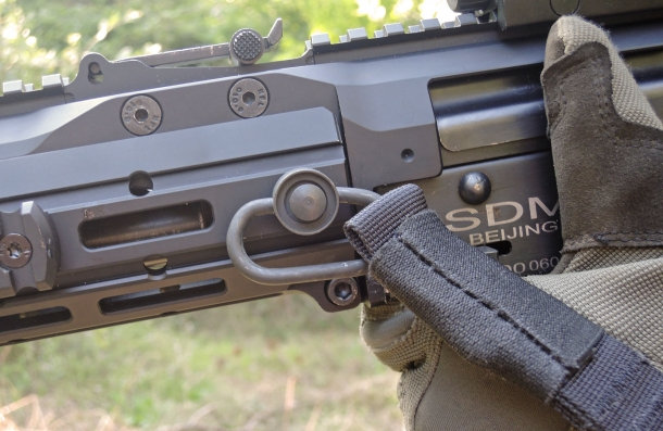 The SAG AK Chassis MK2 features two QD flushcups for a tactical sling