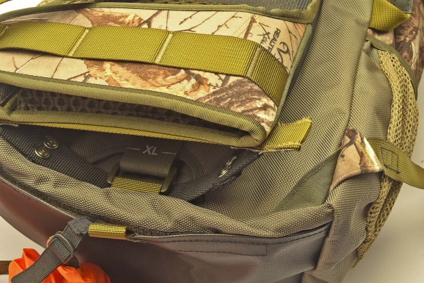 The backpack has a removable, armored carry frame