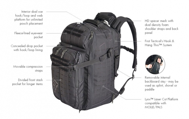 The features of the First Tactical Tactix 1-Day Plus backpack