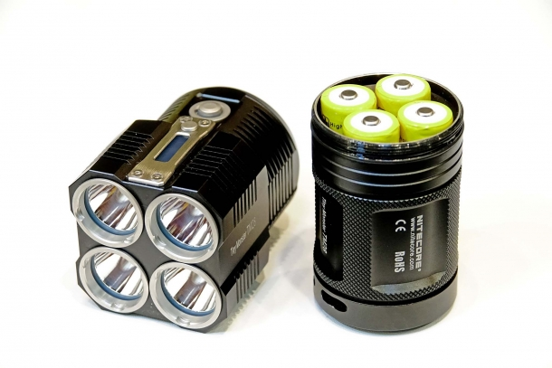 The Nitecore TM28 is powered by four 18650 batteries