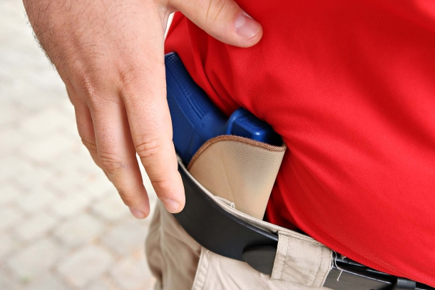 BLACKHAWK! TecGrip IWB pistol holster, where IWB stands for 'Inside the Waistband', as this image shows clearly