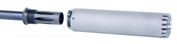 Il silenziatore B&T M.A.R.S. QD, installato su un rompifiamma speciale