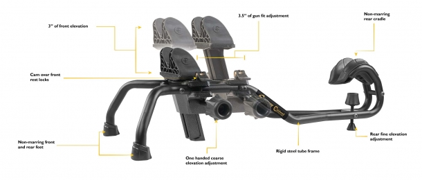 The shape of the Caldwell Stinger Shooting Rest makes it practical to use with modern sporting firearms with high-capacity magazines