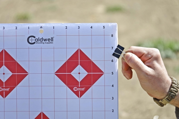 Clippers are used to secure paper targets to Caldwell's Ultra Portable Target Stand Kit