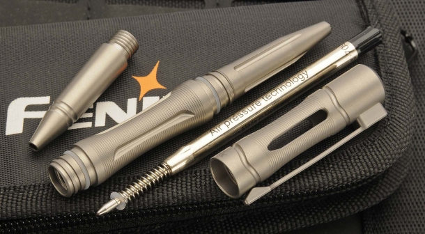 The Fenix T5Ti Tactical Pen is... a pen! with a pressurized refil making it work at any angle