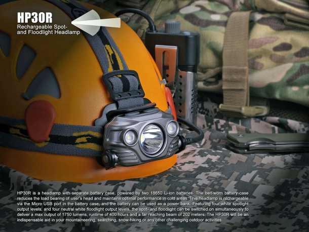 Some features of the Fenix HP30R high-power headlamp